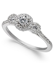 Diamond Three-Stone Halo Engagement Ring (1/2 ct. t.w.) in 14k White Gold