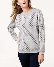 Karen Scott Petite Dot-Print Sweatshirt, Created for Macy's