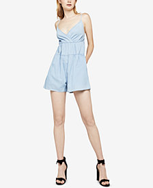 BCBGeneration Cotton Surplice Denim Romper