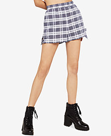 BCBGeneration Plaid Side-Tie Shorts