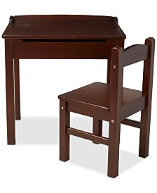 Wooden Lift-Top Desk & Chair - Espresso
