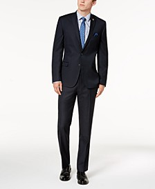 Men's Slim-Fit Stretch Navy Micro-Dot Suit