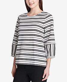 Calvin Klein Striped Balloon-Sleeve Top