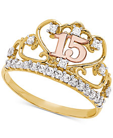 Cubic Zirconia Quinceañera Ring in 14k Gold, Rose Gold & Rhodium-Plate
