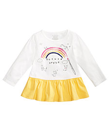First Impressions Baby Girls Peplum-Hem Graphic-Print Cotton Top, Created for Macy's