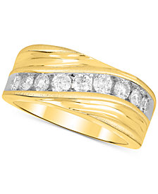 Men's Diamond Swirl Band (1 ct. t.w.) in 10k Gold