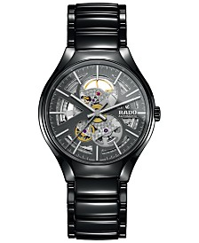 Rado Men's Swiss Automatic True Open Heart Black High-Tech Ceramic Bracelet Watch 40mm