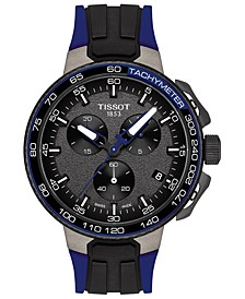 Men's Swiss Chronograph T-Sport T-Race Cycling Blue & Black Silicone Strap Watch 45mm