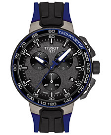 Tissot Men's Swiss Chronograph T-Sport T-Race Cycling Blue & Black Silicone Strap Watch 45mm