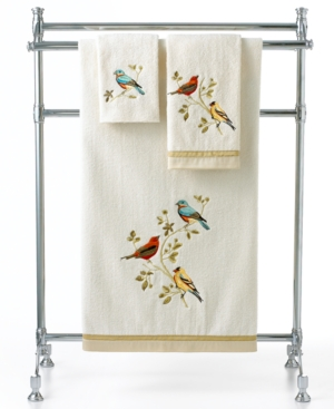 "Image of Avanti Bath Towels, Gilded Birds 25"" x 50"" Bath Towel Bedding"