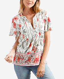 Lucky Brand Floral-Print Pintucked Babydoll Top