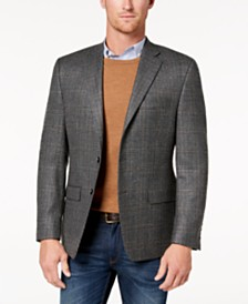 Lauren Ralph Lauren Men's Classic-Fit Ultra-Flex Stretch Gray Plaid Wool Sport Coat