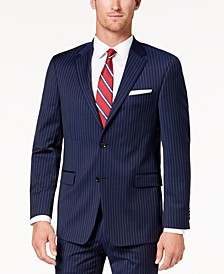 Men's Modern-Fit TH Flex Stretch Navy Pinstripe Suit Jacket