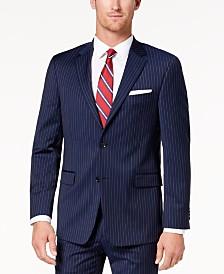 Tommy Hilfiger Men s Modern-Fit TH Flex Stretch Navy Pinstripe Suit Jacket 43708b48c14