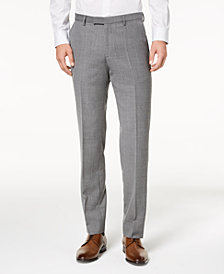 HUGO Men's Modern-Fit Light Gray Patterned Suit Pants