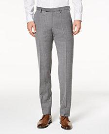 HUGO Men's Modern-Fit Light Gray Patterned Suit Pants