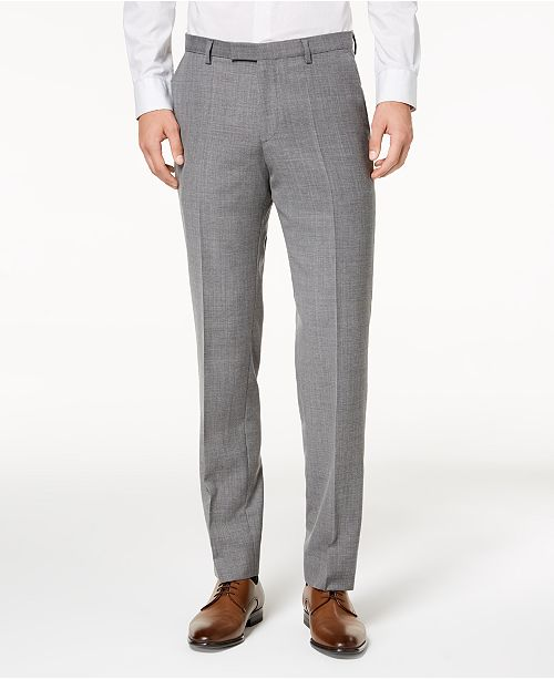 Hugo Boss HUGO Men's ModernFit Light Gray Patterned Suit Pants Stunning Mens Patterned Pants