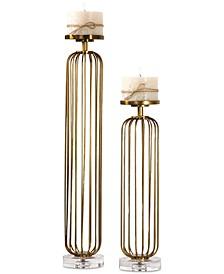 Cesinali Antique Gold Candleholders, Set of 2