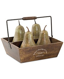 5-Pc. Decorative Pears & Basket Set