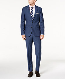 Hugo Boss Men's Modern-Fit Blue Mini-Check Suit Separates