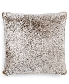 "Martha Stewart Collection Frosted Faux-Fur 20"" Square Decorative Pillow, Created for Macy's"