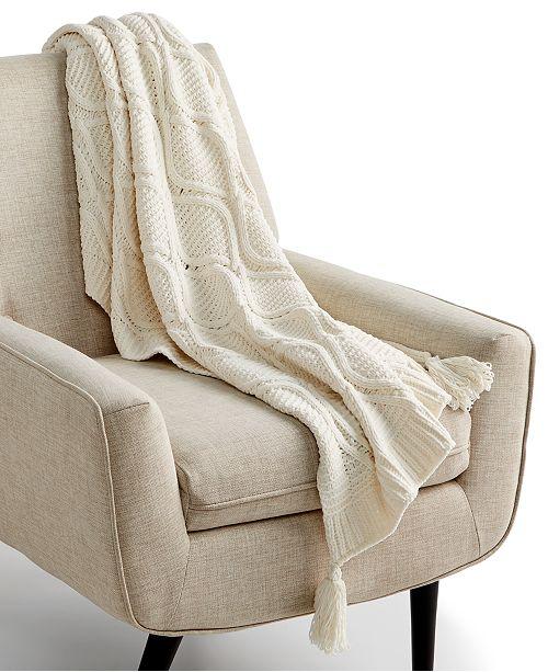 """Martha Stewart Collection Sweater-Knit Chenille 50"""" x 60"""" Throw, Created for Macy's"""