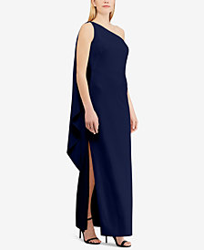 Lauren Ralph Lauren Crepe One-Shoulder Gown