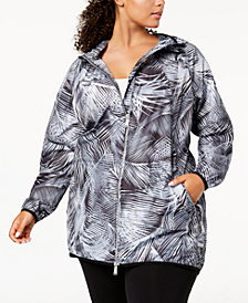 Calvin Klein Performance Plus Size Printed Hooded Jacket