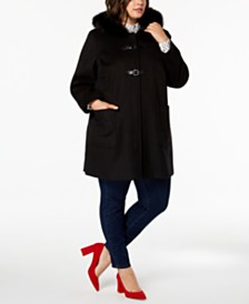 Forecaster Plus Size Fur-Trim Walker Coat