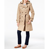 London Fog Hooded Double-Breasted Trench Coat Deals