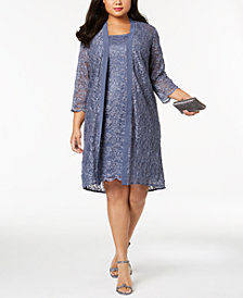 Alex Evenings Plus Size Glitter Lace Dress & Duster Jacket