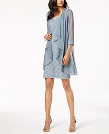 Embellished Lace Sheath Dress & Jacket