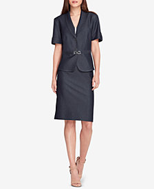 Tahari ASL Petite Buckle-Trim Skirt Suit