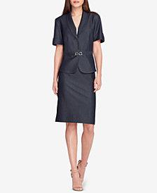 Tahari ASL Petite Buckle-Trim Skirt Suit