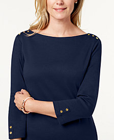 Karen Scott Cotton Button-Shoulder Boatneck Dress, Created for Macy's