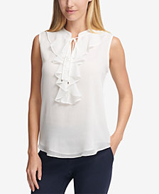 Tommy Hilfiger Ruffle-Front Tie-Neck Blouse