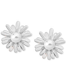 Majorica Sterling Silver Imitation Pearl Flower Earring Jackets
