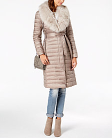 T Tahari Faux-Fur-Collar Belted Puffer Coat