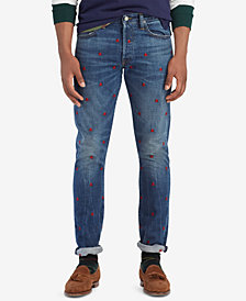 Polo Ralph Lauren Men's Sullivan Slim Embroidered Skulls Cotton Jeans