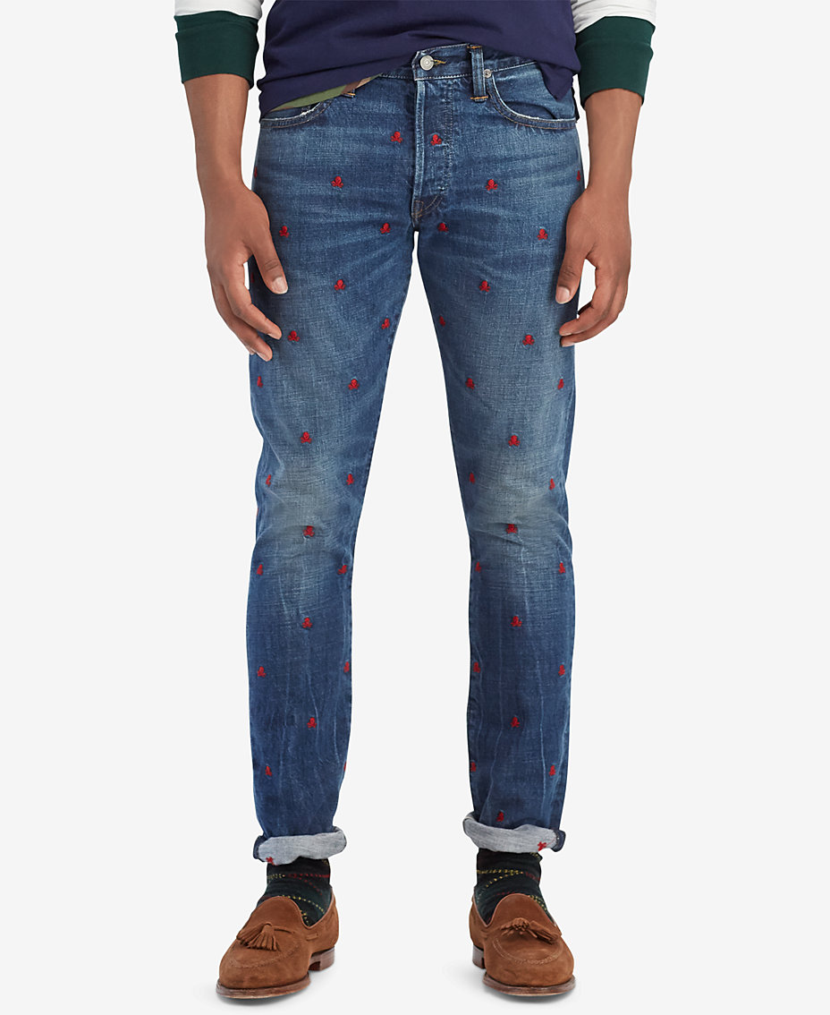 6e5b45824 Polo Ralph Lauren Men s Sullivan Slim Embroidered Skulls Cotton Jeans    Reviews - Jeans - Men - Macy s