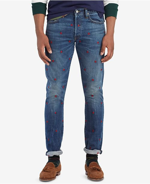 2c749f43c858 ... Cotton Jeans  Polo Ralph Lauren Men s Sullivan Slim Embroidered Skulls  Cotton ...