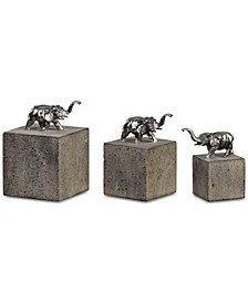 Tiberia Set of 3 Elephant Sculptures