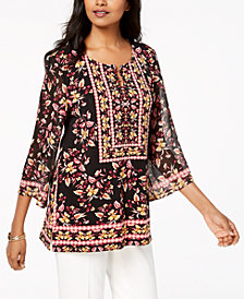 JM Collection Petite Hardware-Neck Angel-Sleeve Tunic, Created for Macy's