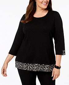 Karen Scott Plus Size 3/4-Sleeve Layered-Look Top, Created for Macy's