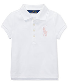 Polo Ralph Lauren Little Girls Big Pony Stretch Mesh Polo Shirt
