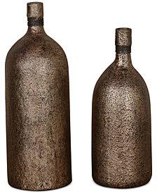 Uttermost Biren Set of 2 Textured Antique-Look Gold-Tone Vases