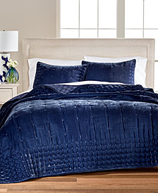 CLOSEOUT! Martha Stewart Collection Tufted Velvet Quilt & Sham Collection, Created for Macy's