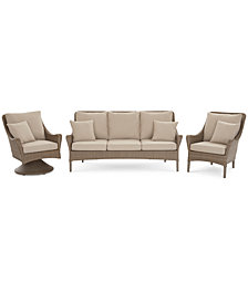 Silver Lake Indoor/Outdoor Flat Rattan 3-Pc. Seating Set (1 Sofa, 1 Club Chair and 1 Swivel Club Chair) with Sunbrella® Cushions, Created for Macy's