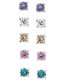 Sterling Silver Earring Set, Multicolor Cubic Zirconia Five Stud Earring Set (1 ct. t.w.)