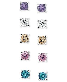 Giani Bernini Sterling Silver Earring Set, Multicolor Cubic Zirconia Five Stud Earring Set (1 ct. t.w.)